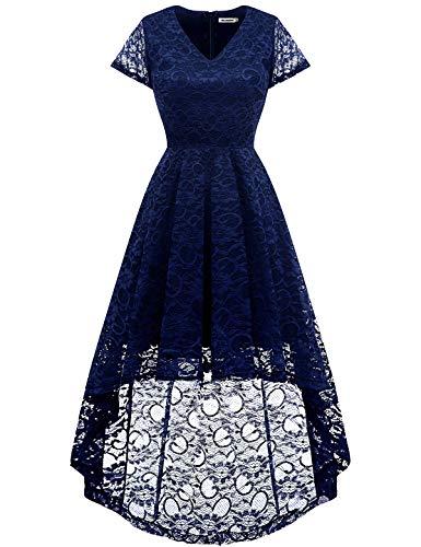 Bbonlinedress Women's Vintage Floral Lace Hi-Lo Cap Sleeve Formal Cocktail Prom Party Dress Navy M by Bbonlinedress