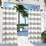 Exclusive Home Indoor/Outdoor Stripe Cabana Window Curtain Panel Pair with Grommet Top 54×96 Cloud Grey 2 Piece For Sale