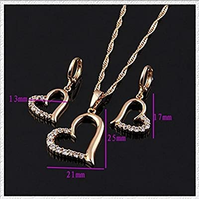YARUIE 14K Gold Plated Crystal Heart Shape Pendant & Earrings Jewelry Set, Mother's Day Gift