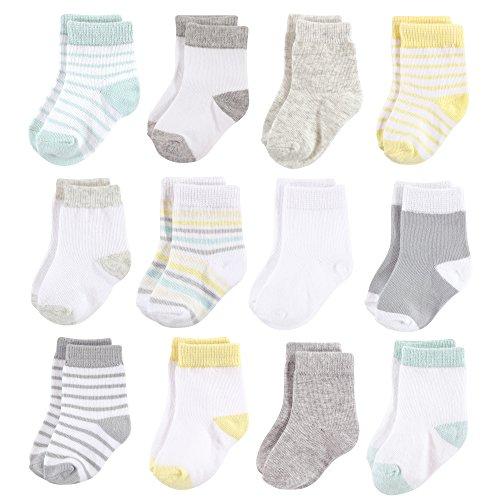 Hudson Baby Baby Basic Socks, Neutral Stripe 12-Pack, 6-12 Months