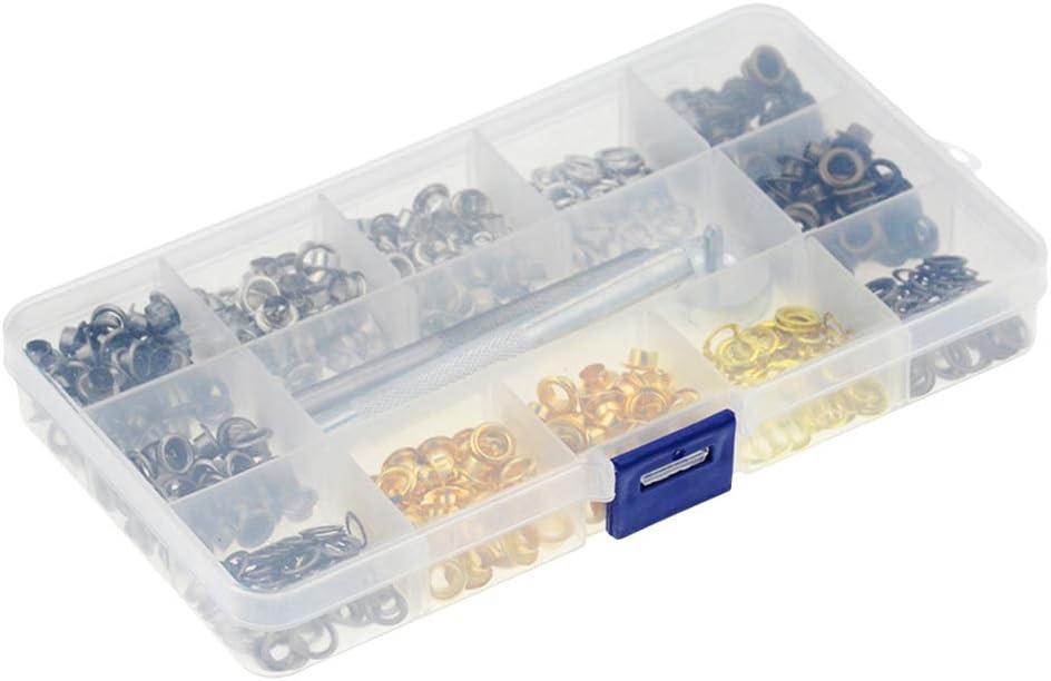 Proyecto DIY 4 Colores Bestgle Kit de Ojetes de 5mm,Kit De Ojal Met/álico De 400 Piezas Con Herramienta De Montaje y Caja De Almacenamiento para Bolsa