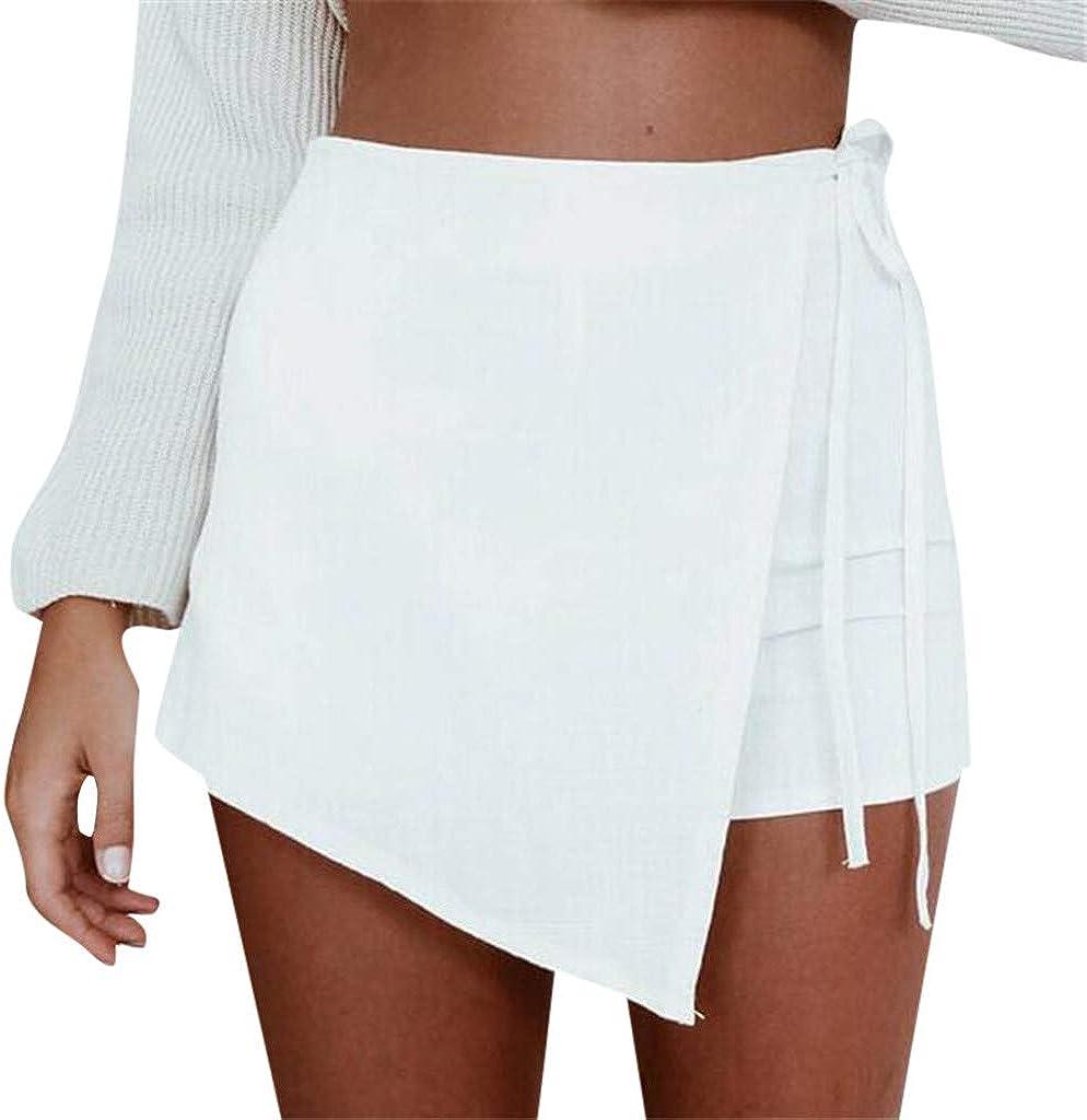 TOPKEAL Pantalones Cortos para Mujer Culottes Modernas Falda Cruzada con Bordes Irregulares Falda de Cintura Alta