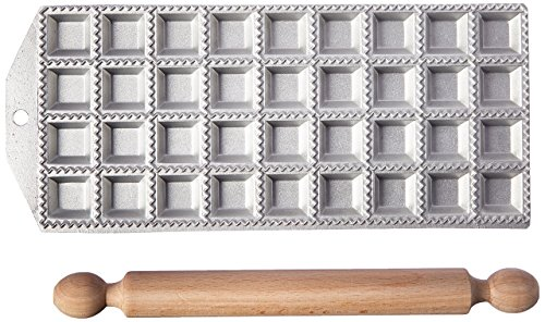 Eppicotispai 36 Holes Aluminum Square Ravioli Maker with Rolling Pin