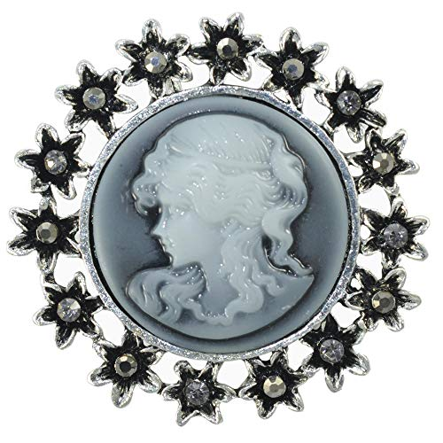 Gyn&Joy Vintage Inspired Victorian Design Queen Lady Crystal Flower Cameo Enamel Brooch Pin (Old Silver)