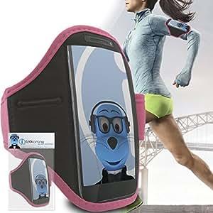Motorola RAZR M Baby Pink Black Running Adjustable ArmBand Case Cover with Key / Money Pocket