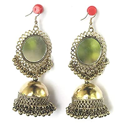 India Earring Traditional Bollywood Oxidized Mirror Jhumka Golden Plated Jewelry Jewelry & Watches Fashion Jewelry