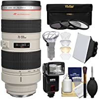 Canon EF 70-200mm f/2.8L USM Zoom Lens with Flash + Softbox + Diffuser + 3 Filters Kit for EOS 6D, 70D, 7D, 5DS, 5D Mark II III, Rebel T5, T5i, T6i, T6s, SL1 Camera