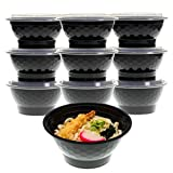 [10 Pack] Freshware Ramen Noodle Soup Pasta Bowls with Lids - Stackable, Reusable