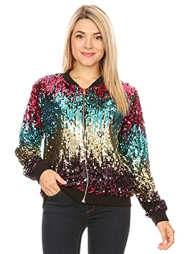 Anna-Kaci Womens Sequin Long Sleeve Front Zip Jacket with Ribbed Cuffs, Gradient Color, Large