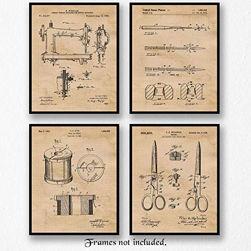 Original Sewing Patent Art Poster Prints - Set of 4 (Four 8x10) Photos - 8x10 Unframed - Great Wall Art Decor Gifts for Seamstress, Designer, Stylist, Craft - Living - Bed - Bathroom, School, Office from Stars Arts