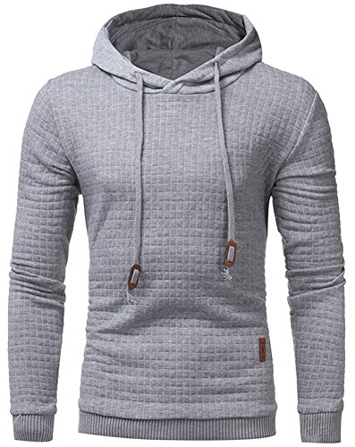 YuKaiChen Men's Hoodies Square Pattern Quilted Hoody Sweatshirt Light Grey (Hood Jumper)