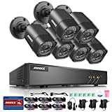 ANNKE 8CH 720P Security System 1080N Digital Video Recorder and (6) 1280TVL Outdoor Fixed Weatherproof Cameras, HDMI Output, QR Code Scan to Remote View-NO HDD