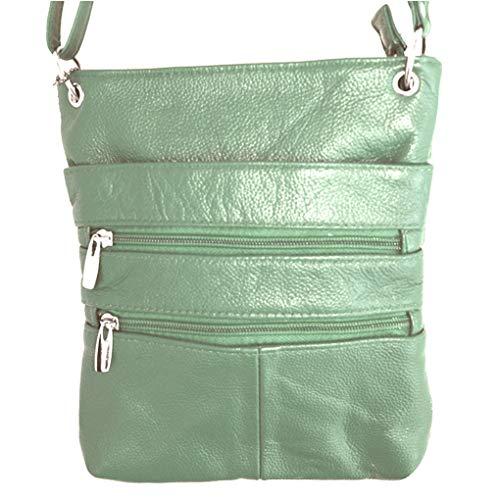 Genuine Leather Green Shoulder Cross Light Fever Body Purse Handbag Travel Silver O5ZwxTq5