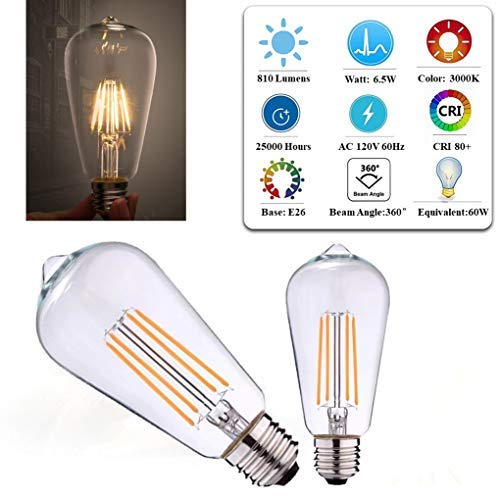 ST19(ST58) Dimmable ETL LED Edison Light Bulb Filament Vintage Classic Light Bulb E26 Base 8.5Watt(60W Equivalent) for Home Restaurant: 3000K,Warm White,810Lumen,CRI>80cri,Screw Clear Glass(8-Pack)