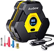 Audew Portable Air Compressor Tire Inflator with Gauge, Auto Digital Air Pump for Car Tires with Extra LED Lig