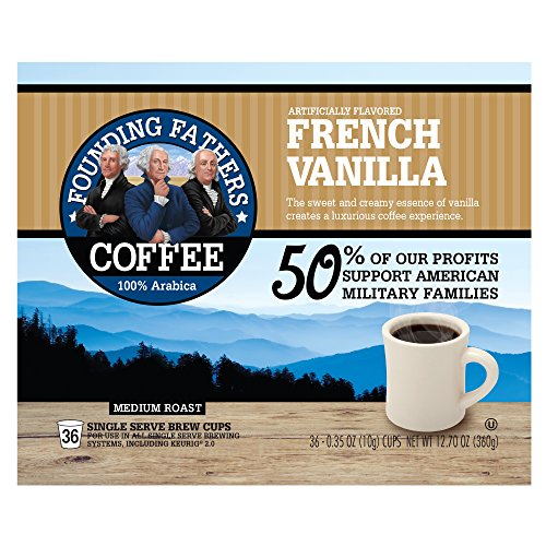 Founding Fathers Coffee, French Vanilla Single Serve K-Cup, 36 Count (Compatible with Keurig 2.0)