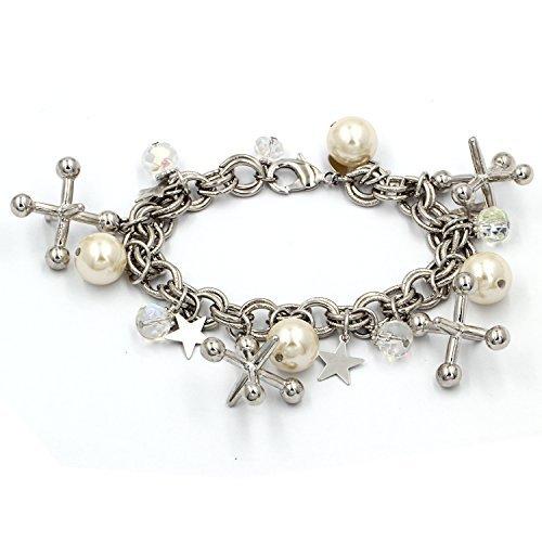 YOSHINE Women and Girls Imitation Pearls Charm Bracelet ()