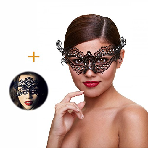 Masquerade Mask for Women Ultra Light Shiny Metal Rhinestone Venetian Pretty Party Evening Prom Ball Mask Luxury Metal Mask Come with Free Lace Mask (Venetian Carnival Mardi Gras Mask)