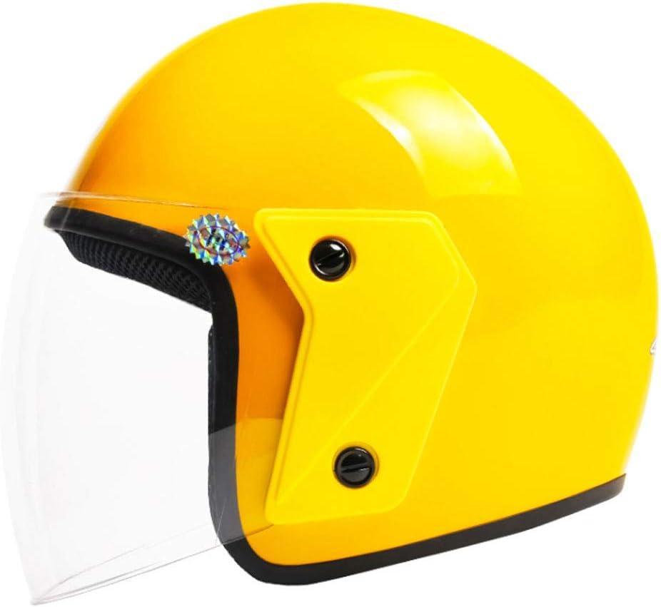 Color : Amarillo, Tama/ño : 32x26x25cm Casco el/éctrico de Motocicleta para Hombres y Mujeres Cuatro Estaciones Universal Anti-vaho Casco Semi-Cubierto Transparente NJ Casco