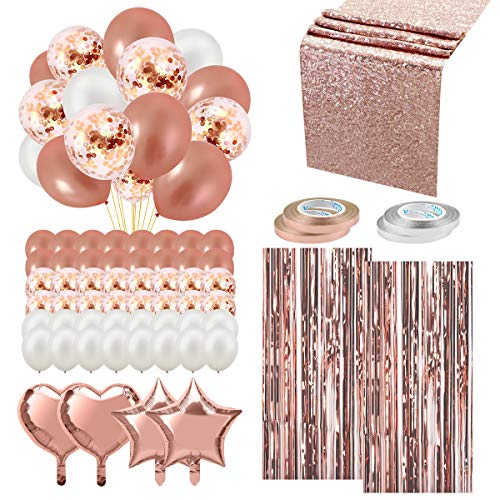 Rose Gold Balloons Party Decorations Supplies Set, 59Pcs, Table Runner, Foil Curtain, Heart and Star Balloon, Confetti and Latex Balloon, Ribbon for Wedding and Party Supplies