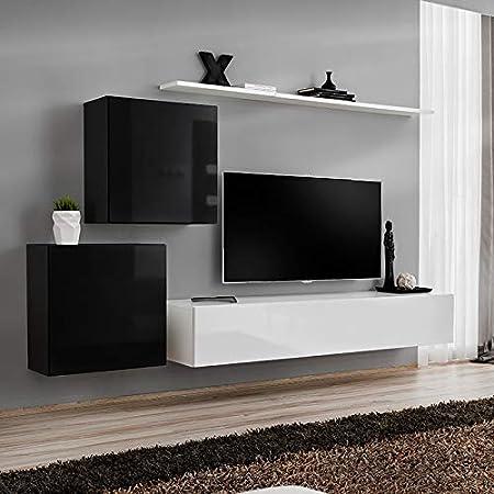 Kasalinea ALCEO 2 - Mueble para TV Colgante, Color Blanco y Negro: Amazon.es: Hogar