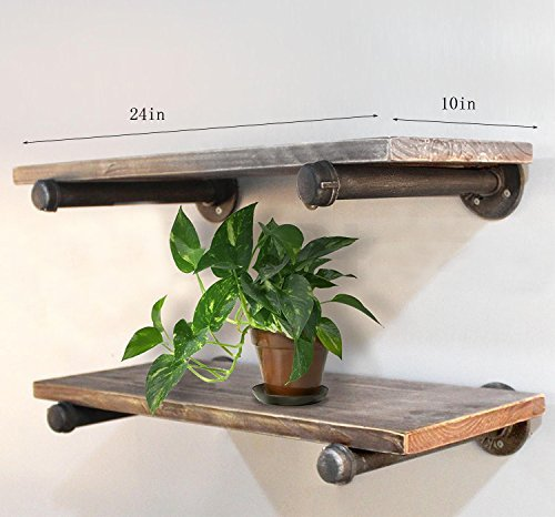 Rustic Industrial Wood Wall Shelves Pipe Shelf Bookcase 24''x10'' (Two Shelf Bookcase) by WGX (Image #2)
