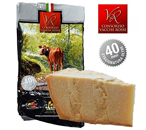 "Parmigiano Reggiano PDO ""Vacche Rosse/Red cows"" seasoned 40/48 months, 2,2 lbs (kg.1) Produced by Consorzio Vacche Rosse (Red label)"