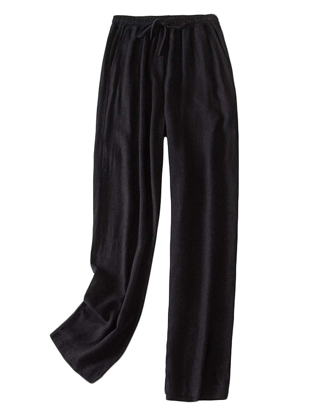 Black Jenkoon Women's RelaxedFit Linen Pants Wide Leg Long Palazzo Trousers