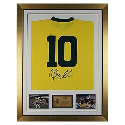 Camiseta de Brasil Enmarcada Firmada A Mano Por Pelé - Leyenda Del ...