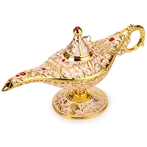 Hipiwe Vintage Magical Legend Aladdin's Genie Lamp for Home/Wedding Table Decoration,Collectable Rare Classic Arabian Costume Props Lamp Pot &Gift for Party/Halloween/Birthday (Beige)]()