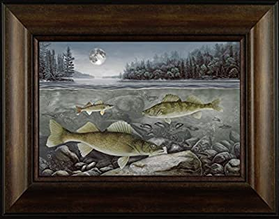 Walleyes in the Moonlight By Todd Thunstedt 20x26 Bait Lake Bass Largemouth Smallmouth Walleye Fish Fishing Bass Musky Muskellunge Boat Minnow Motor Depth Finder Framed Art Print Wall Décor Picture