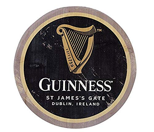 Guinness Wooden Bottle Top Bar Sign Wall Art 12 inch (Harp) -