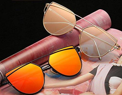 pochette protection Femme Métal de Soleil Cadre de soleil oeil Chat Lunettes Classique Lunettes de Avec Miroir UV400 Rose Lunettes Elinka Mode HzqdYwH