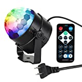 SlowTon Mini Disco DJ Stage Lights, Remote Control Sound Activated Rotating Glitter Mirror Ball Party Strobe Light LED RGB 3W 7 Mode Options Changing Light for KTV XmasBar Club Karaoke Home (Black)