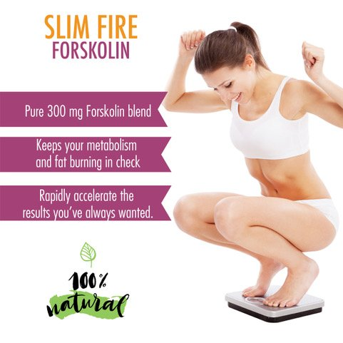 Slim Fire Forskolin- Maximum Strength Fat Burner- 100% Natural, Pure, Potent Ingredients(Best Coleus Forskohlii on the Market) - Safe Weight Loss Supplement for Women & Men- 30 Capsules