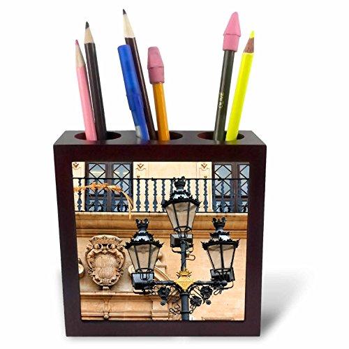 3dRose Danita Delimont - Lamps - Spain, Balearic Islands, Mallorca, street scenes, street lamp post. - 5 inch tile pen holder (ph_277907_1) by 3dRose