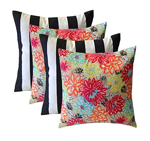 Set of 4 - Indoor/Outdoor Square Decorative Throw/Toss Pillows - Yellow, Orange, Blue, Pink Bright Artistic Floral & Black and White Stripe- Choose Size (17'' x 17'') by RSH Décor (Image #4)