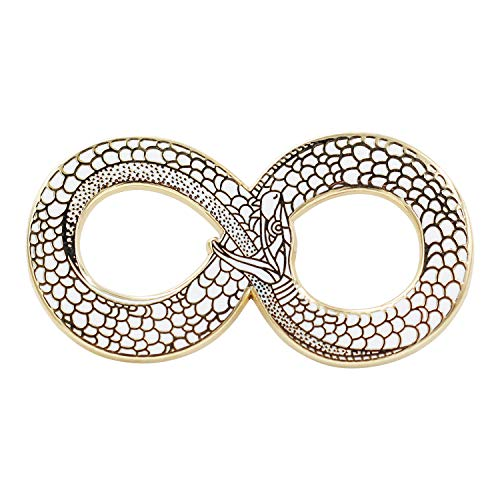 Real Sic Ouroboros Enamel Pin - Gold Snake Pin - Halloween/Occult/Witch/Alchemy/Tarot Lapel Pin for Jackets, Backpacks, Bags, Hats & Tops - White Hat Pin