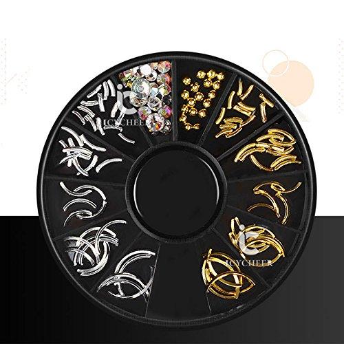 Icycheer 1Boîte Argent Doré Clous rivet Cercle étoile Mix Forme Strass Perle mixte Charms Gel UV 3d Nail Art Décoration Roue Ever.Grace