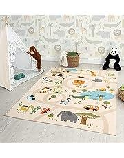 the carpet Happy Life Kindertapijt, speelkleed, wasbaar, straattapijt, straat, jungle, dieren, auto, beige, 120 x 160 cm