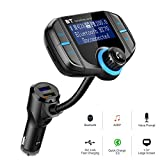 Bluetooth FM Transmitter for Car ,Big SS FM Transmitter Wireless Radio Adapter Hands-free Car Kit with USB QC3.0 Car Charging Port,1.7 Inch Display,AUX Input/ Output, TF Card Mp3 Player
