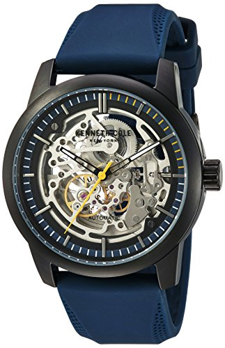 Kenneth Cole New York Men's ' Automatic Stainless Steel and Silicone Dress Watch, Color:Blue (Model: 10030791) (Watch Kenneth Skeleton Men Cole)