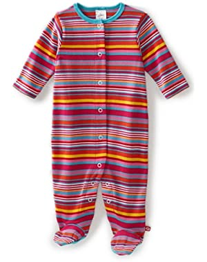 Baby-girls Infant Multi Stripe Footie