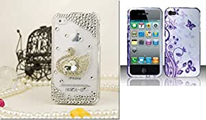 Combo pack For iPhone 4G - 3D Design Full Diamond Protectors - Silver Peacock FPD3D And Rubberized J5 Design for APPLE iPhone 4