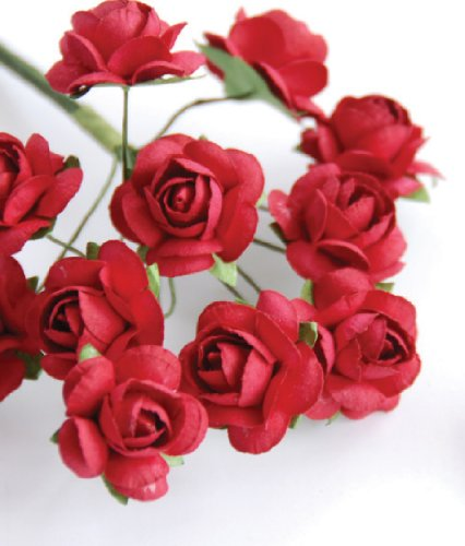 "Zva Creative - Mini Rose Bulk Paper Flowers .5"" (12mm) 144 Stems - Classic Red"