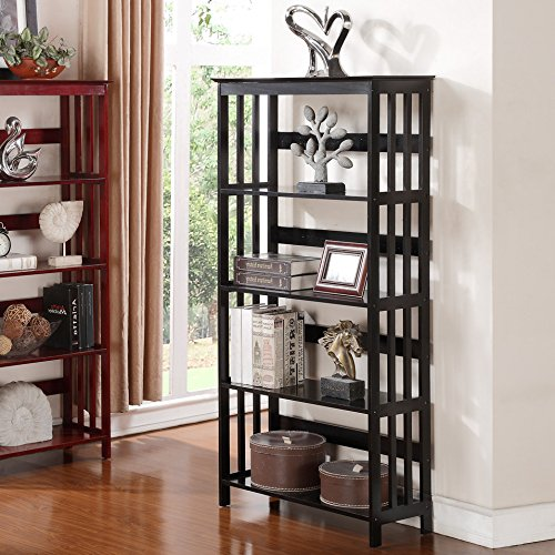 Roundhill Furniture Wooden 4 Shelves Bookcase, Espresso Finish