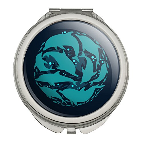 Dolphin Circle Sardines Ocean Fish Compact Travel Purse Handbag Makeup Mirror - Mirror Sardine