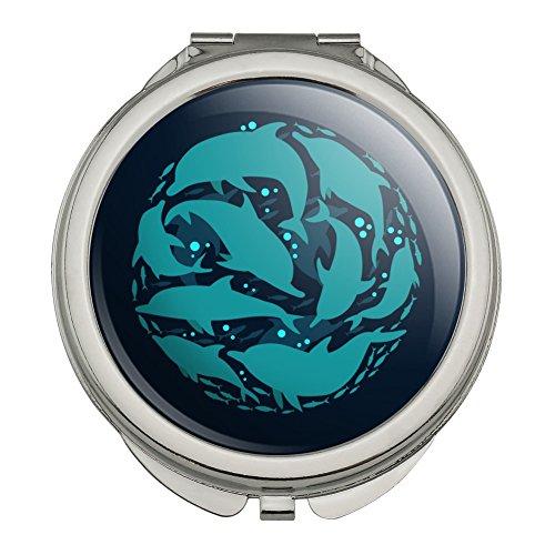 Dolphin Circle Sardines Ocean Fish Compact Travel Purse Handbag Makeup Mirror - Mirror Sardine