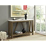 WE Furniture AZF52AFTMNW a-Frame Rustic Entry Console Table, 52, Marble/Walnut