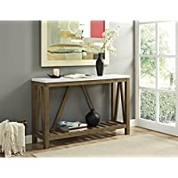 WE Furniture A-Frame Rustic Entry Console Table - Marble/Walnut, 52